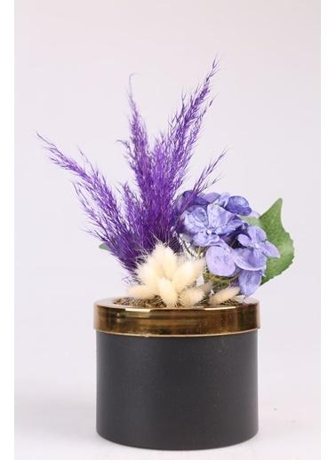 Kibrithane Çiçek Yapay Çiçek Metal Saksı Kuru Çiçek  Aranjman Kc00200774 Renkli